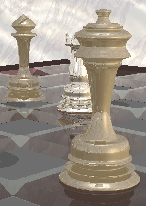 [raytraced image of metal chess pieces on a glass board]