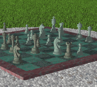 [ray-traced image of a chess board on a stone table]