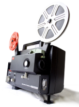 [stock photo of an old-fashioned movie projector]