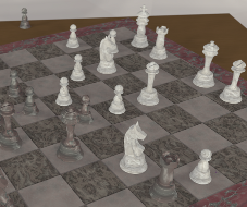 [raytraced image of a stone chess set]